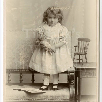 Cabinet Card Photo - Young Victorian Girl Standing Holding Doll with Miniature Chair - Abel Lewis of Clifton England