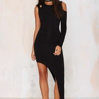 Nasty Gal Side With Me Asymmetric Dress - Black