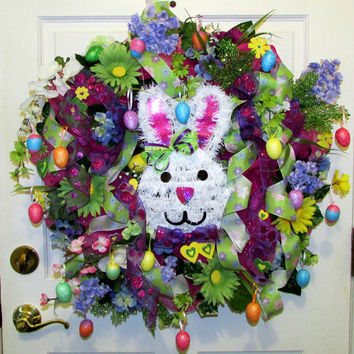 Deco Mesh 2 in 1 wreath, Easter wreath, Spring & Summer wreath, removable Bunny, eggs, multi color flowers, door decor, floral wreath
