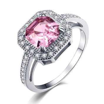 Caperci 5.63TCW Asscher Cut Created Pink Sapphire Engagement Ring in Sterling Silver 925