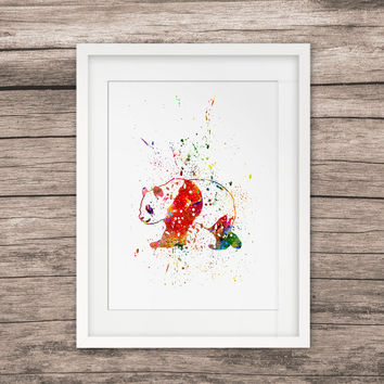 Panda Painting Art Watercolor Paint Home Decor Panda Picture Wall Art