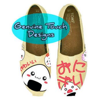 Hand Painted, Kawaii Onigiri, Fanart shoes, Custom Toms, Birthday Gifts, Christmas Gifts, Art work, cartoon shoes