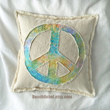 "Peace sign pillow cover rainbow colors of blue yellow pink swirl design batik and distressed denim 16"" boho pillow cover"