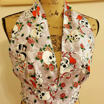 "Tattoo - Ed  - Hardy  - skulls - hearts - roses - pinup - rockabilly - Retro - vintage - style - ""ellie may"" - halter top"