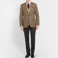 Kingsman - Brown Single-Breasted Brushed-Wool Checked Blazer | MR PORTER