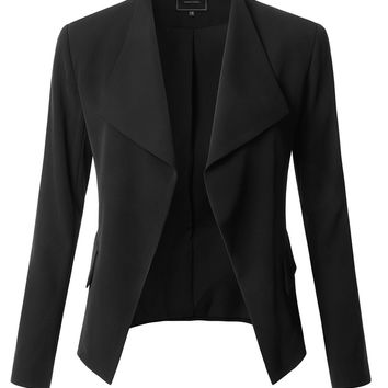 LE3NO Womens Classic Long Sleeve Open Front Draped Blazer Jacket