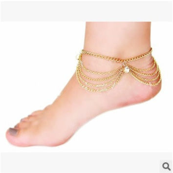 New Beach Girls Unique Handmade Multilayer Tassel Chain Crystal Drop Anklet Ankle Bracelet Foot Jewelry (Color: Gold) = 1668828164