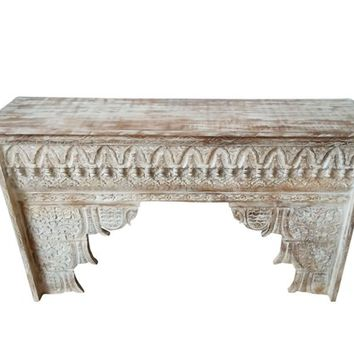 Antique Decorative Hand Carved Fireplace Shabby Chic Surround Mantle Console Interior Decor