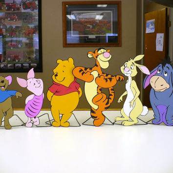 Indoor Winnie the Pooh and friends Characters Set with stands for birthday, baby shower