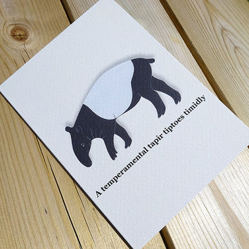 Tapir card, this cute black and white hand-illustrated temperamental tapir card comes complete with clever alliterative phrase