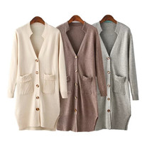 Long Sleeve Double Pocket Cardigan Sweater