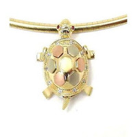 14K TRICOLOR YELLOW PINK ROSE WHITE GOLD HAWAIIAN SEA TURTLE HONU LOCKET PENDANT