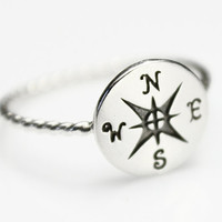 Compass Ring, Sterling Silver Ring, Silver Stacking Ring, Graduation Gift, Compass Rose