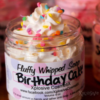 Fluffy Whipped Soap - Birthday Cake Vegan 8 oz. *LARGER SIZE*