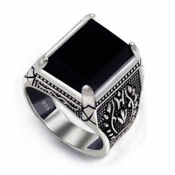Eulonvan 925 sterling Silver Jewelry black ring men Cubic Zirconia vintage fashion gifts Gothic gorgeous S-3810 size 7 8 9 10 11