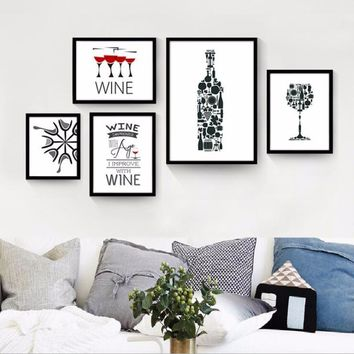 Funny Wine Quotes Canvas Paintings Black and White Nordic Poster Print Wall Art Pop Pictures Kitchen Bar Home Decor
