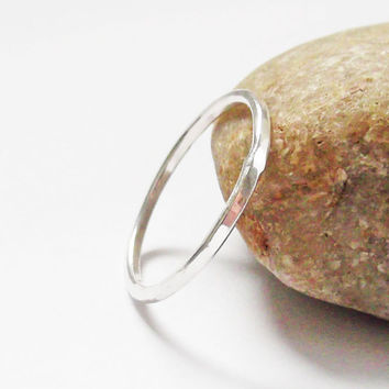 Thin Sterling Silver Ring, Skinny Hammered Band, Stacking Ring