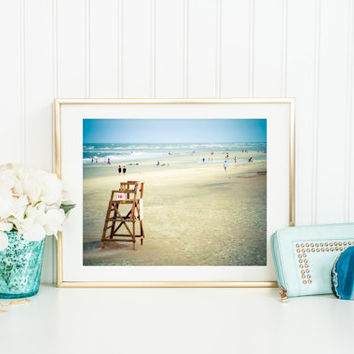 Ocean digital download, instant beach printable, lifeguard chair, summer, fine art photography, Tybee Island, Georgia, wall art home decor