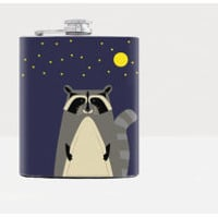 Moon light raccoon flask - Hip flask - Blue - Stainless Steel Flask - 7oz
