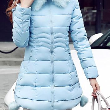 Sky Blue Pockets Fuzzy Hooded Long Sleeve Going out Coat