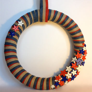 Fourth of July Wreath, Red, White, and Blue Wreath, Holiday Decor