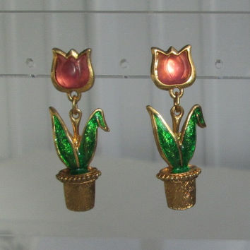 Avon Pink Tulip Dangle Post Earrings Floral Jewelry