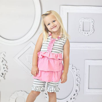 Gray & White Stripes Double Ruffle Shorties Shorts - Toddler & Girl Sizes!