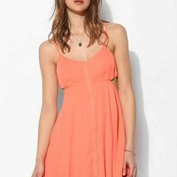 Lucca Couture Button-Front Cutout Dress- Coral XS