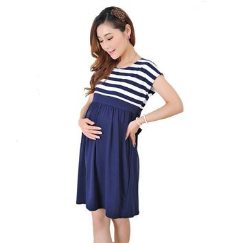 Women Long stripe Dresses Maternity Nursing dresses for Pregnant Women ladies Women's Clothing Mother Clothes