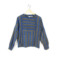 Vintage Striped Blouse -- Silk & India Cotton Embroidered Shirt -- Long Sleeve Button Front Shirt -- Charcoal Grey and Blue - Womens XS / S