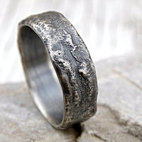 molten silver ring rich structure, mens wedding ring unique, celtic ring viking, meteorite wedding band men, cool engagement ring