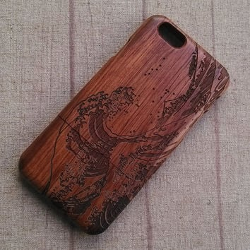 Wood iPhone case, Japan wave case, iphone 6 case,iphone 6plus, iphone 5 case ,iphone 4, iphone 5c case, wood case,wooden iphone case,gift