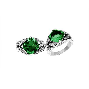 """AR-6233-GQ-10"""" Sterling Silver Ring With Green Quartz"""