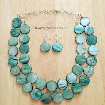 Emerald Statement Necklace-Anthropologie Necklace-Chunky Bib Necklace-Beaded Multi Strand Necklace-Bridesmaids Jewelry Set