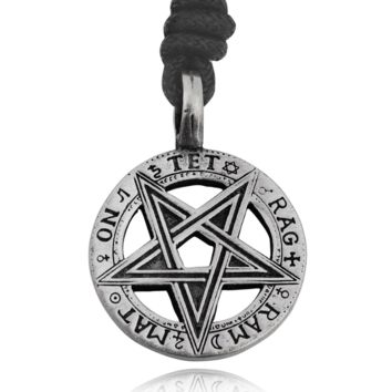 Lovely Pentagram 5 Pointed Star Silver Pewter Charm Necklace Pendant Jewelry