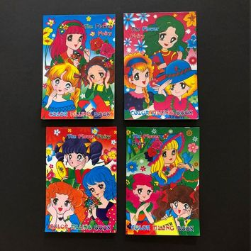 Vintage 1980s Paper Ephemera Goods Unused Japan Fashion Anime Manga Cartoon Candy Big Eyes Girls Fairytale Art Illustrations Coloring Books