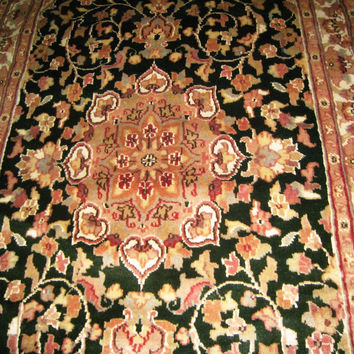Persian Carpet Oriental Rug genuine ethnic sindhi indian design 3x5 hand knotted silk wool blend floral living room dark green olive new