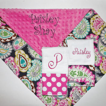PERSONALIZED Baby Girl Stroller Blanket and 2 PERSONALIZED Burp Cloth Set - Paisley with Hot Pink Minky