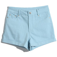 ROMWE | Rolled Cuffs Blue Shorts, The Latest Street Fashion