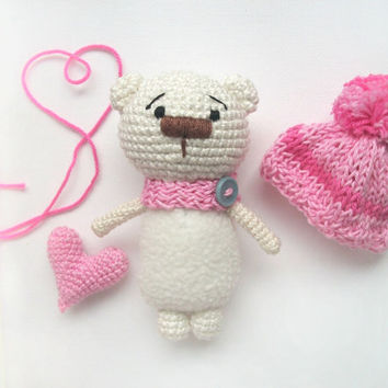Tiny crocheted miniature cream  bear with pink hart  / soft cute crocheted toy / Amigurumi teddy / Cute stuffed animal/ St.Valentine gift
