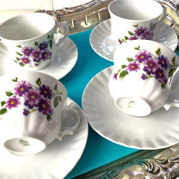 4 Antique Tea Cup and Saucer Sets, High Tea, Vintage Wedding Cups, Fancy Wedding Teacups, Victorian China, Purple Tea Cups