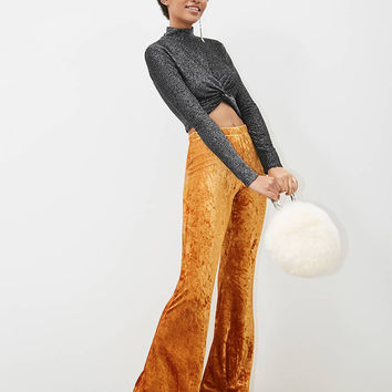 Crushed Velvet High-Waist Flared Pants