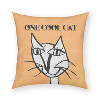 """One Cool Cat by Artist Lisa Weedn Artistic 18""""x18"""" Throw Pillow"""