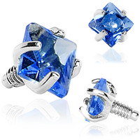 3mm Blue Prong Set Square Gem Dermal Top | Body Candy Body Jewelry