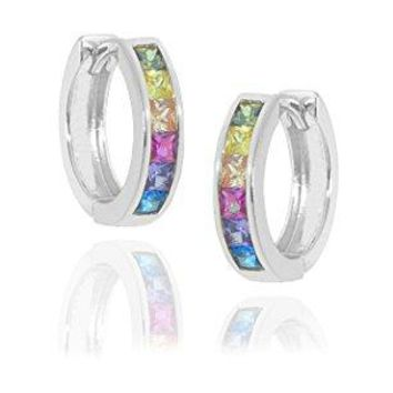 NYC Sterling Women 15MM Rainbow Cubic Zirconia Hoop Earring