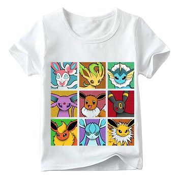 Go Pop Eeveelutions Design Children T shirt Boys and Girls Summer White Tops Kids Casual T-shirt,HKP5091Kawaii Pokemon go  AT_89_9