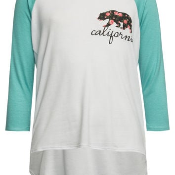 Full Tilt Cali Bear Girls Raglan Tee White Combo  In Sizes