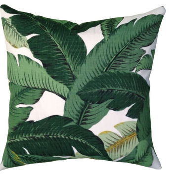 READY TO SHIP Palm Print Pillow Cover, Both Sides, Indoor Outdoor Fabric 20x20