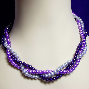 Purple Gray Twisted Pearl Necklace, 3 Strand Necklace, Mom Sister Grandmother Bridesmaid Wedding Jewelry Gift, Christmas