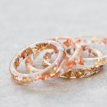 Resin Stacking Ring Yellow Pink Gold Flakes Thin by daimblond